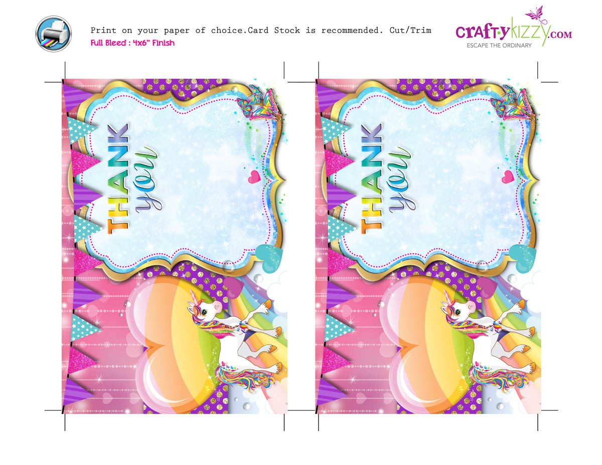 photo regarding Printable Thank You Card called Rainbows and Unicorns Printable THANK Yourself Card - Unicorns - Gals Birthday Thank Oneself Playing cards - Prompt Down load