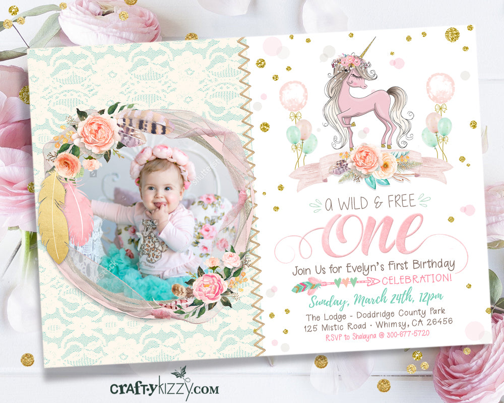 Unicorn First 1st Birthday Boho Invitation - Girl Wild One Shabby Chic Pink Gold Mint Printable - CraftyKizzy