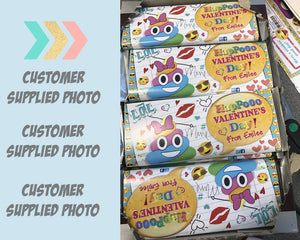 Poop Emoji Happy Valentine's Day Party Favors Candy Bar Wrapper Hershey's Bar Classroom Favor Label - Personalized