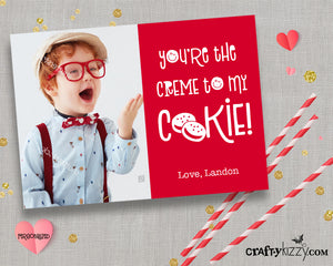 Valentines Day Photo Wallet Cards - You're The Creme To My Cookie - Photo Valentine's for Kids - Personalized Valentine - CraftyKizzy