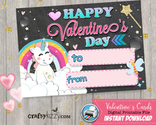 Rainbows and Unicorns Girl Happy Valentines Day Cards - Girls Valentine's Day Fill In The Blank Classroom Printable Cards - Kids Teachers - INSTANT DOWNLOAD - CraftyKizzy
