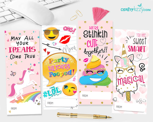 Valentines Bookmarks for kids - Printable Girls Valentine's Day Fun Inspirational Bookmarks - Cute Valentines Gifts for Teachers INSTANT DOWNLOAD - CraftyKizzy