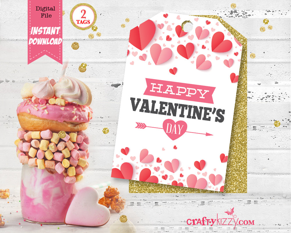Happy Valentines Day Favor Tags - Hearts