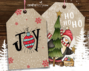 printable penguin kraft christmas tags