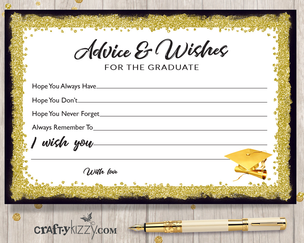 Black and Gold Graduation Advice Cards for the Graduate - DIY High School or College Party Favor INSTANT DOWNLOAD - CraftyKizzy