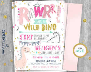 Girl Modern Dinosaur Birthday Invitation - Wild Dino First Birthday - Stop Chomp and Roar Party Invitations - CraftyKizzy