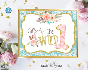 Wild One Gift Sign - Tribal Party Sign - First Birthday Party Decoration - Gifts for the Wild One - INSTANT DOWNLOAD - CraftyKizzy