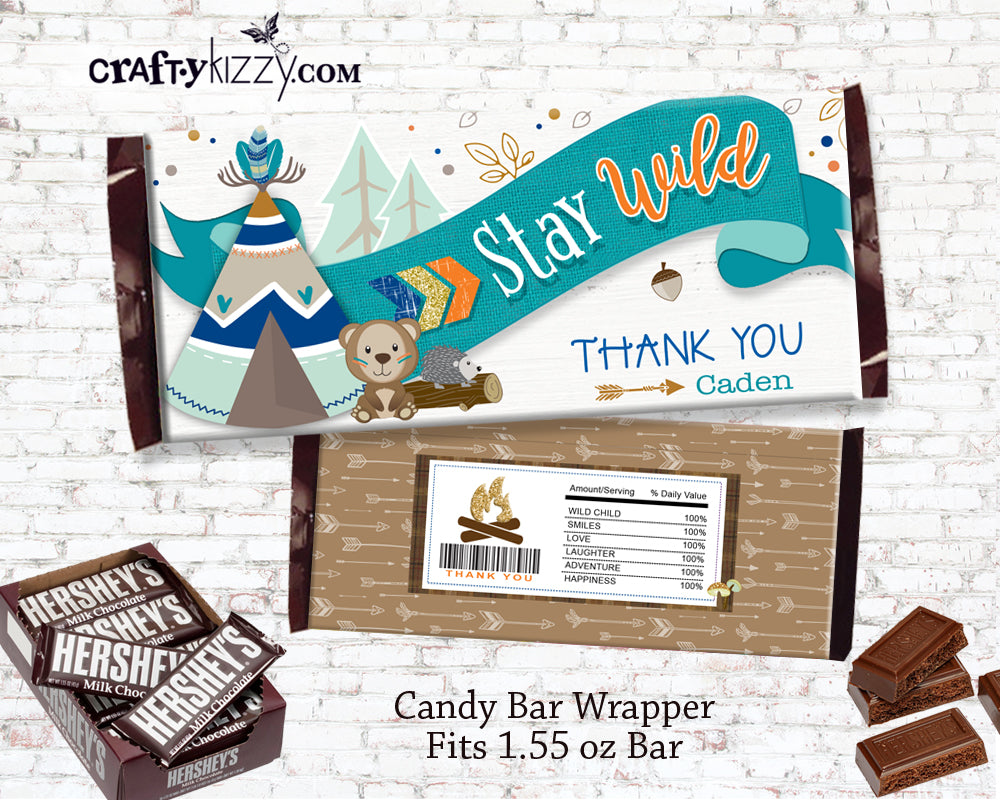 Woodland Boy Candy Bar Wrapper - Woodland Bear Birthday Party Hershey Label - Printable Chocolate Party Favors - INSTANT DOWNLOAD