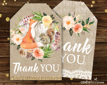 woodland fox floral thank you tags for baby shower