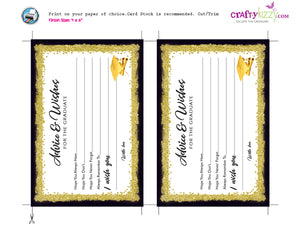Black and Gold Graduation Advice Cards for the Graduate - DIY High School or College Party Favor INSTANT DOWNLOAD