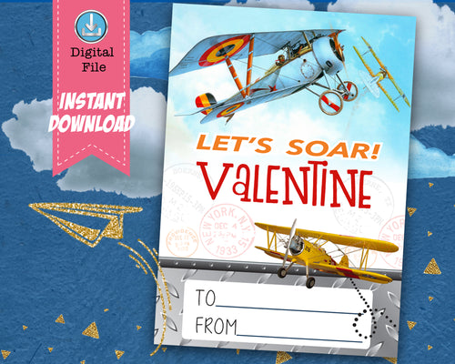 Airplane Boy Valentines Day Card Boys Airplanes Let's Soar Valentine School Classroom Cards - DIY Valentine's INSTANT DOWNLOAD - CraftyKizzy