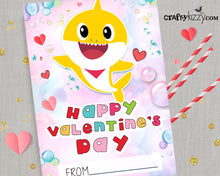 Yellow Baby Shark Valentines Day Cards for Kids Girl Shark Valentine Exchange Cards - INSTANT DOWNLOAD - CraftyKizzy