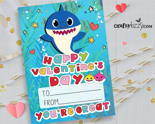 Baby Shark Valentines Day Cards for Kids Boys Shark Valentine Exchange Cards - INSTANT DOWNLOAD - CraftyKizzy