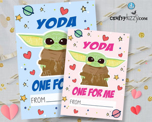Baby Yoda Valentines Day Cards for Kids Boys and Girls Valentine Exchange Cards - INSTANT DOWNLOAD - CraftyKizzy