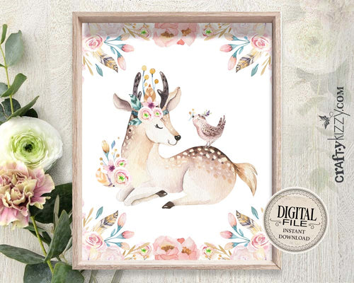 Woodland Nursery Wall Art - Baby Deer Wall Print - Animal Prints - Baby Fawn - Girl Room Decor - INSTANT DOWNLOAD