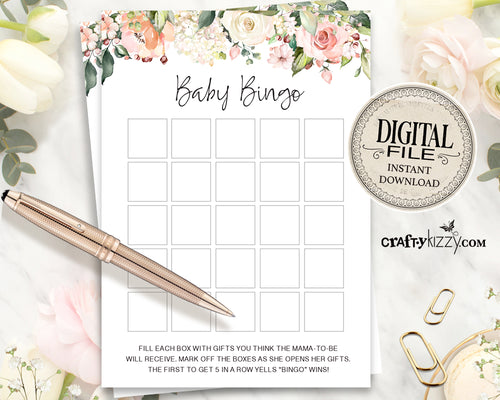 Floral Baby Shower Bingo Cards - In Full Bloom Baby Shower Games - Spring Bingo Game  – Roses Bingo Card - INSTANT DOWNLOAD