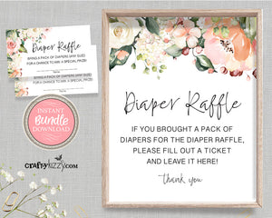Rose Diaper Raffle Sign and Card Party Bundle - Floral Pink Diaper Raffle Ticket - Baby Shower Games and Printable Diaper Raffle Sign - INSTANT DOWNLOAD