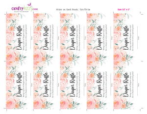 Baby Shower Diaper Raffle Ticket Roses - Baby Shower Diaper Raffle Game - Peach Roses - Diaper Raffle Insert - INSTANT DOWNLOAD