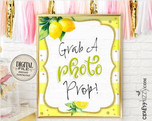 Baby Shower Selfie Table Signs - Grab A Photo Prop Printable Sign - Lemon Themed Bridal Sign - INSTANT DOWNLOAD