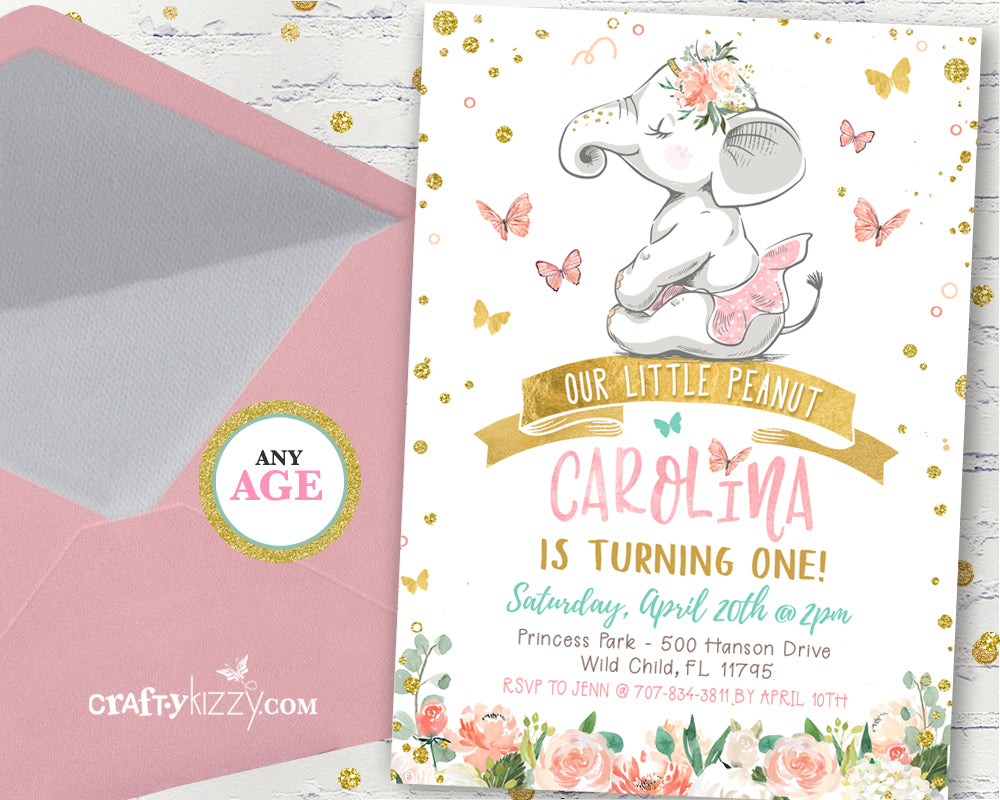 Elephant first birthday party invitation