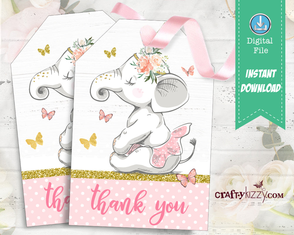 Elephant Thank You Favor Tags - Ballerina Party Favors - First Birthday Tag - Baby Shower - INSTANT DOWNLOAD - CraftyKizzy