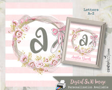 Ballet Watercolor Nursery Monogram Art Baby Girl Initial Monogram - Printable Letter Wall Art Decor - Ballet Slippers - Personalized Option