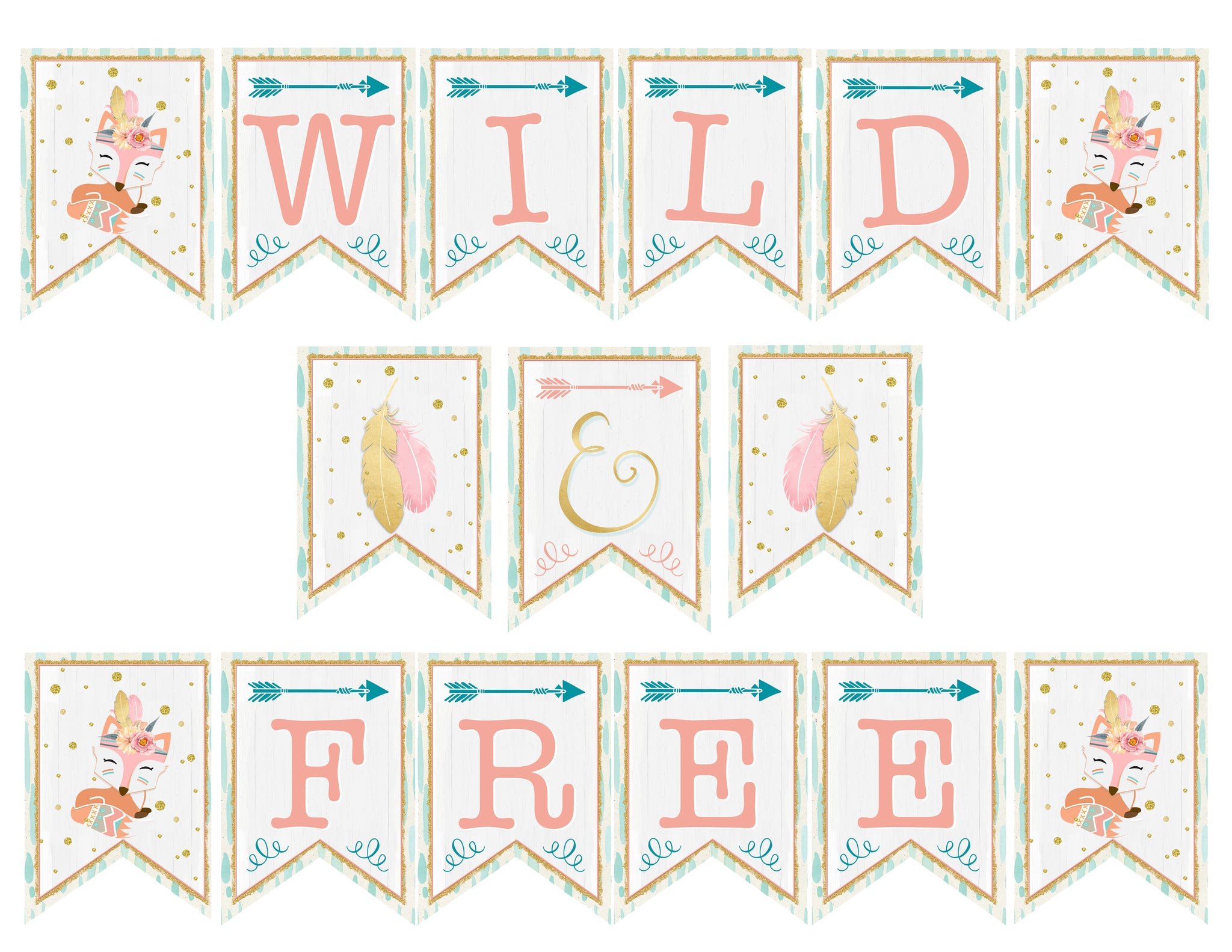 photograph regarding Free Birthday Banner Printable named Tribal Wild and No cost Birthday Pennant Banner - Printable