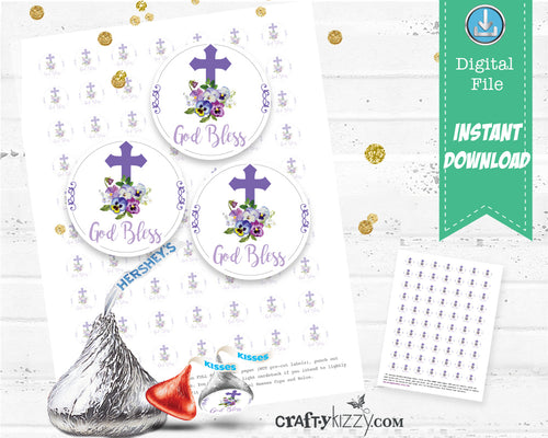 Baptism Holy Communion Hershey Kisses Stickers - Printable Christening Labels - DIY Party Favors - INSTANT DOWNLOAD - CraftyKizzy