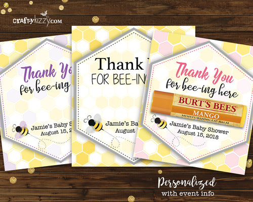 Chapstick Thank You Favor Card - Mommy To Be Baby Shower Favors - Bridal Shower Tags - Gender Reveal Unisex Thank You Tags Personalized - CraftyKizzy