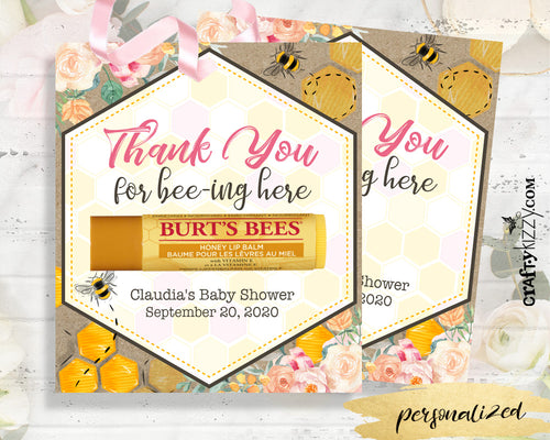 Bee Chapstick Thank You Favor Card - Mommy To Be Baby Shower Floral Favors - Bridal Shower Chapstick Tags - Personalized