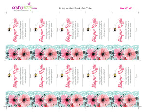 Bee Baby Shower Diaper Raffle Ticket - Floral Baby Shower Diaper Raffle Game - Honey Bee Diaper Raffle Insert - INSTANT DOWNLOAD