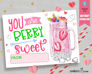 Berry Sweet Valentine's Day Cards - Strawberry Valentine Pun School Exchange Cards - INSTANT DOWNLOAD - CraftyKizzy