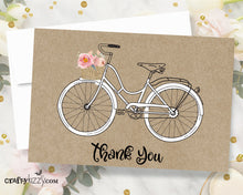 Bicycle Thank You Card - Printable Floral Thank You Cards - Beach Cruiser - INSTANT DOWNLOAD