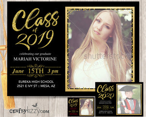 Class of 2019 Graduation Invitation - High School Grad - College Graduation - Black And Gold - Red And Gold - Invitations - CraftyKizzy