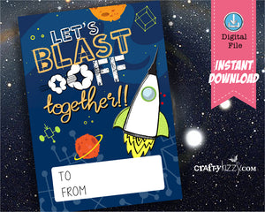 Rocket Ship Valentines - Space Valentine - Kids Valentine's Day - Out of This World - INSTANT DOWNLOAD - CraftyKizzy