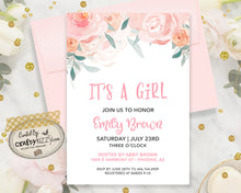 Blush Pink Baby Shower Invitation - It's A Girl Watercolor Floral Baby Shower Invitation - Printable Girl Baby Shower Invitation - Pink Baby Shower Announcement