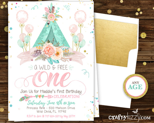 Boho First 1st Birthday Invitation - Girl Wild One - Wild Three Watercolor Teepee Shabby Chic Pink Gold Mint Printable Invitations - CraftyKizzy