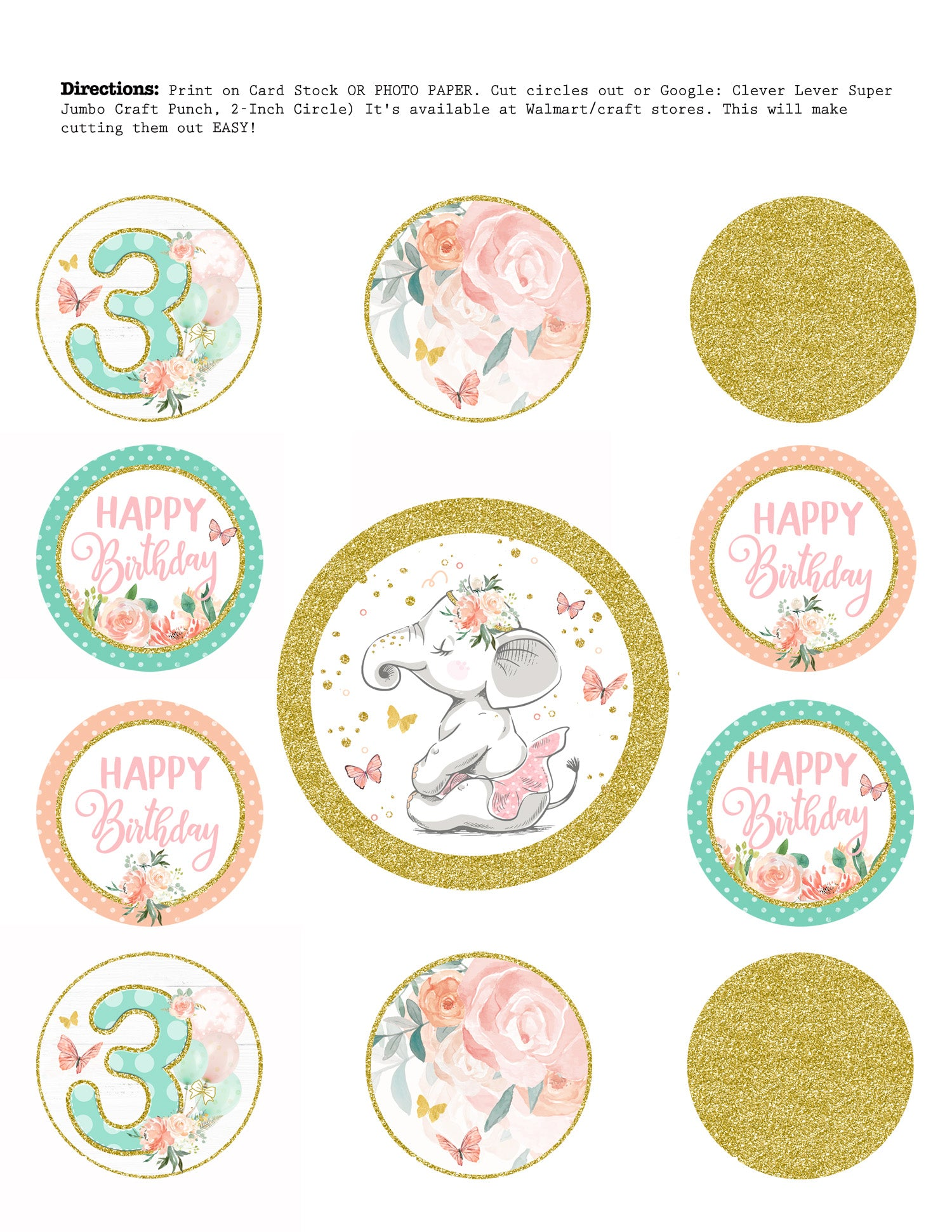 Ballet Elephant Cupcake Toppers Pink And Gold Birthday Toppers Craftykizzy