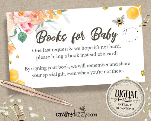 Floral Books For Baby Bee Card - Girl Baby Shower Book Request Insert - Bumble Bee Card - INSTANT DOWNLOAD - CraftyKizzy