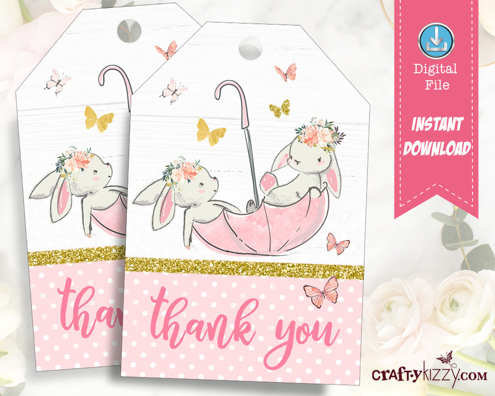 Bunny Thank You Tags - Twin Bunnies Birthday Favor Tags - Easter Bunny Gift Tag  INSTANT DOWNLOAD - CraftyKizzy