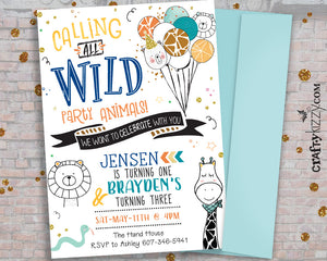 Calling All Party Animals Invitation - Joint Wild Party Animal Invitations - Wild One Safari Animals - Giraffe - Lion - CraftyKizzy