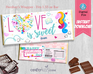 Valentine's Day Candy Bar Wrapper - Girls Valentine Party Favor - Candy Gram Classroom Favor Label INSTANT DOWNLOAD - CraftyKizzy
