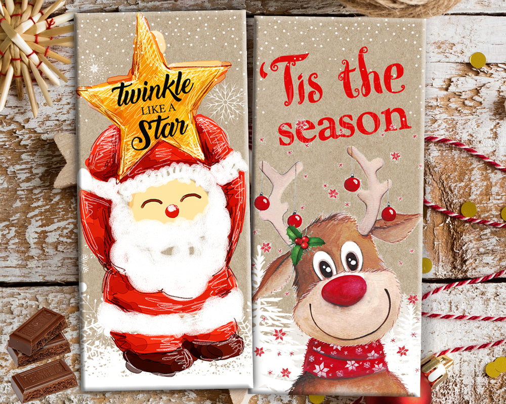 Christmas Chocolate Bar Wrapper Printable Favors - Tis The Season Hershey's Bar Label - INSTANT DOWNLOAD