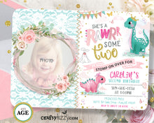 Rawrsome Dinosaur First Birthday Invitation
