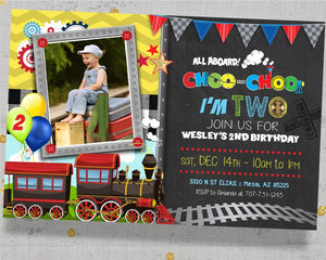 chugga chugga choo choo I'm Two Invitation