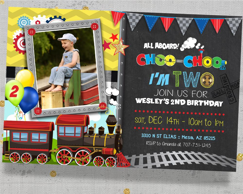 Choo Choo I'm Two Birthday Invitation - Train 2nd Birthday Invitations - Chugga Chugga Two Two - CraftyKizzy