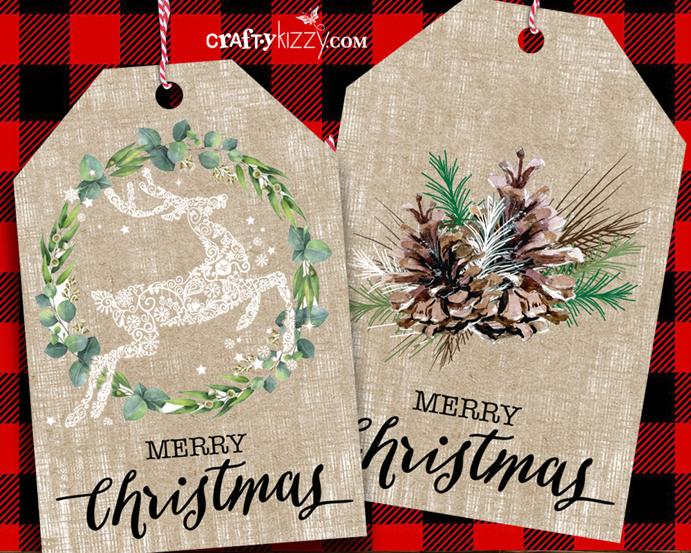 Holiday Favor Tags - Handmade Pine Cone and Reindeer Tags - Christmas Gift Wrap Tag Set - INSTANT DOWNLOAD - CraftyKizzy