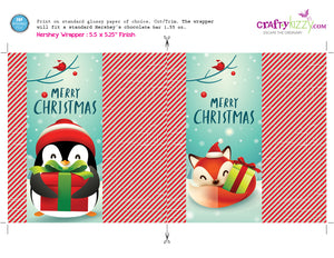 Christmas Candy Bar Wrapper - Printable Penguin Wrappers - Favors - Merry Christmas Hershey's Bar Label - Fox - INSTANT DOWNLOAD