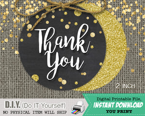 Black & Gold Glitter Confetti Thank You Favor Tags - Bachelorette Favors 2 inch Circles INSTANT DOWNLOAD - CraftyKizzy