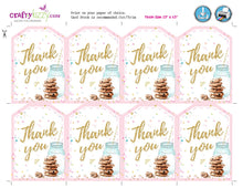 Cookie Decorating Birthday Favor Tags Personalized Cookie Baby Shower Favors - Cookies and Milk Party Tag - Pink and Gold
